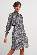 Join Us Dik Yaka Desenli Triko Elbise-siyah