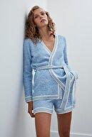 Join Us Kadın Mavi Kuşaklı Triko Ceket