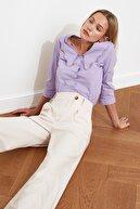 TRENDYOLMİLLA Taş Asimetrik Kapamalı Pileli Pantolon TWOSS21PL0100