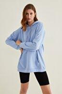 adL Kadın Mavi Cepli Kapüşonlu Örme Swetshirt