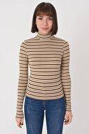Addax Kadın Kahverengi Çizgili Bluz