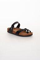 meyra'nın ayakkabıları Kadın Siyah Tek Parmak Çift Toka Terlik