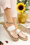 Muggo Kadın Beyaz Şeritli Sandalet