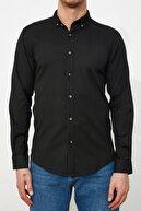 TRENDYOL MAN Siyah Erkek Slim Fit Düğmeli Yaka  Gömlek TMNSS21GO0935