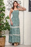 Chiccy Kadın Yeşil İp Askılı Gipeli Çıtır Çiçek Desen Dantel Detaylı Kat Kat Uzun Dokuma Elbise