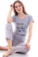 Moda Hitap Kadın Gri Kedi Baskılı Yıldız Desen Pijama Takımı