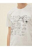 Koton Erkek Gri Baskılı Kısa Kollu Pamuklu T-Shirt
