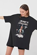 Addax Kadın Füme Baskılı Oversize T-Shirt P9370 - A7 Adx-0000021419