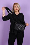 SheBella Bags & Shoes Kadın Siyah Marsala Şişme Kapaklı Çapraz Kol/omuz Çantası