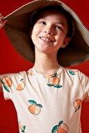 Defacto Kız Çocuk Portakal Desenli Organik Pamuk Kısa Kol Tişört