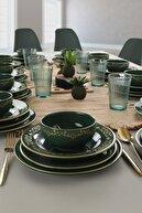 Keramika Riva Yeşil Gold Yemek Takımı 48 Parça 12 Kişilik