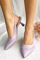 Nil Shoes Lila Pembe Cilt Celinda Topuklu Ayakkabı