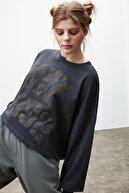 GRIMELANGE Deborah Kadın Siyah Baskılı Bisiklet Yaka T-shirt