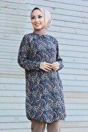 Neva Style - Desenli Lacivert Tesettür Tunik 11522leski