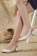 LENAY Kadın Krem-cilt Arkası Açık Topuklu Ayakkabı...