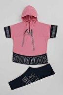 Ahenk Kids Kız Çocuk Pembe Summer Baskılı Taytlı Takım  Ak14196