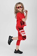 Ahenk Kids Kız Çocuk Kırmızı Vaillant Baskılı Taytlı Takım