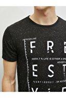 Koton Erkek Siyah Yazı Baskılı Kısa Kollu Pamuklu T-Shirt