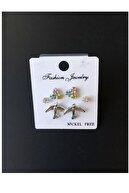 Serline Desing Kadın Gümüş Rengi Martı-çiçekli Ve Zirkon Taşlı Çoklu Minimal Küpe