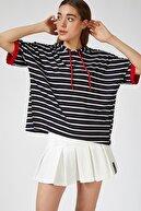 Happiness İst. Kadın Siyah Kapüşonlu Çizgili Viskon T-shirt ZV00091