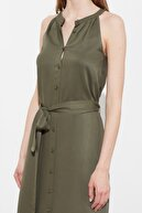 TRENDYOLMİLLA Haki Kuşaklı Gömlek Elbise TWOSS19XM0112