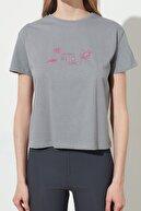 TRENDYOLMİLLA Gri Baskılı Semifitted Örme T-Shirt TWOSS19TC0012