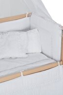 Babycom Anne Yanı Doğal Boyasız Ahşap Kademeli Beşik 70x130 Tekerlekli + Beyaz Uyku Seti