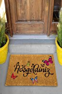 Evsebu Home Hoşgeldiniz Kelebek Dekoratif Çok Amaçlı Iç ve Dış Kapı Paspası