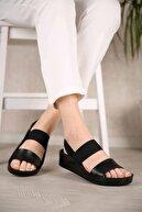 Ccway Kadın Lastikli Sandalet Siyah Cilt