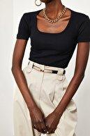 Xena Kadın Siyah U Yaka Kaşkorse Bluz 1KZK2-11515-02