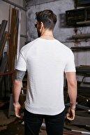 Sateen Men Erkek Beyaz Kendinden Desenli T-Shirt