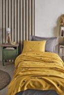 Enlora Home %100 Doğal Pamuk Pike Seti Tek Kişilik Baskılı Dide Sarı