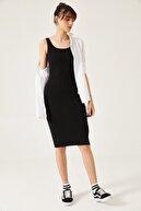 oshebu Kadın Kalın Askılı Kaşkorse Uzun Elbise