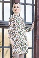 Neva Style - Yaprak Desenli Ekru Tesettür Tunik 1153e