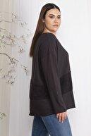 Şans Kadın Siyah Şönil Kumaş Ön Detaylı Tunik 65N22451