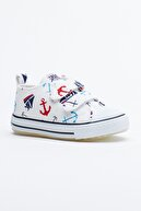 Tonny Black Beyaz Lacivert Çocuk Spor Ayakkabı Cırtlı Tb997