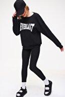 Trend Alaçatı Stili Kadın Siyah Sweatshirt Örme Tayt İkili Takım ALC-X5890