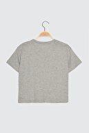 TRENDYOLMİLLA Gri Baskılı Semifitted Örme T-Shirt TWOSS20TS0109