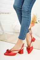 Moda Değirmeni Kadın  Kırmızı Cilt Gül Fiyonklu Topuklu Ayakkabı Md1042-119-0004