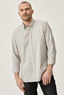 Altınyıldız Classics Erkek Gri Tailored Slim Fit Dar Kesim Düğmeli Yaka %100 Koton Gömlek