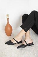 Straswans Kadın Siyah Vera Topuklu Deri Sandalet