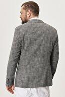 Altınyıldız Classics Erkek Siyah Slim Fit Dar Kesim Mono Yaka Desenli Casual Ceket