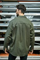 Sateen Men Erkek Haki Uzun Kol Buruşuk Gömlek