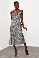 XHAN Kadın   Desenli Saten Midi Elbise 1kxk6-44829-60