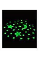 Huzur Party Store Fosforlu Parlak Yıldız Çıkartma Sticker Ay Yıldız Tavana Yapıştırmalı 12 Parça Kurban Bayram Süsü