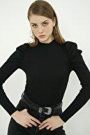 Vis a Vis Kadın Siyah Dik Yaka Balon Kol Bluz  STN904KBL119
