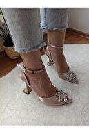 DS AYAKKABI Kadın Bej Saten  Topuk Abiye Ayakkabı