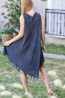 Chiccy Kadın Füme Bohem Batik Desenli Nakış Detaylı Elbise M10160000EL96415