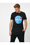 Koton Erkek Siyah Nasa Lisanslı Baskılı T-shirt