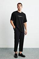 GRIMELANGE FRANK Erkek Siyah Önü Baskılı Kısa Kollu Oversize Bisiklet Yaka T-Shirt